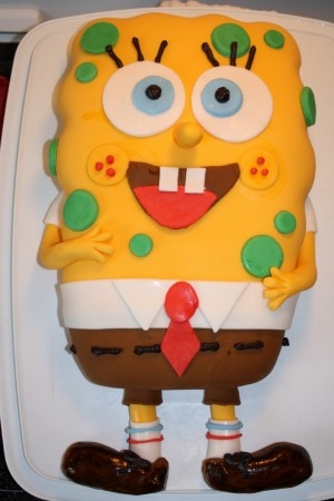 on a Spongebob cake with a